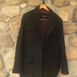 Men's Guess black wool coat
